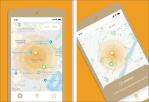 "Pantallazos da app ""SafeWalkNearby""."