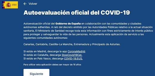 Pantallazo de AsistenciaCOVID-19.